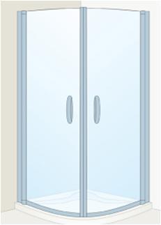 Cabina dus Roca gama Quartz MR 90 cm, semirotunda,sticla transparenta, profil argintiu