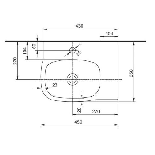 Lavoar asimetric 45 x 35 Kolo gama Style