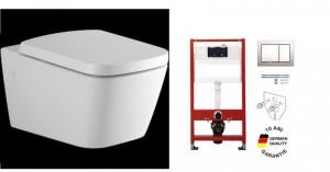 poza Pachet WC suspendat Simply U cu capac soft close de la Ideal Standard plus cadru cu rezervor si clapeta Tece