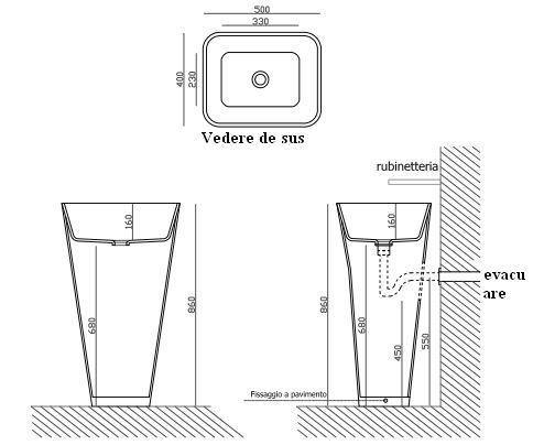 Lavoar monolit 50x40 din lemn Iroko Galassia colectia Meg11