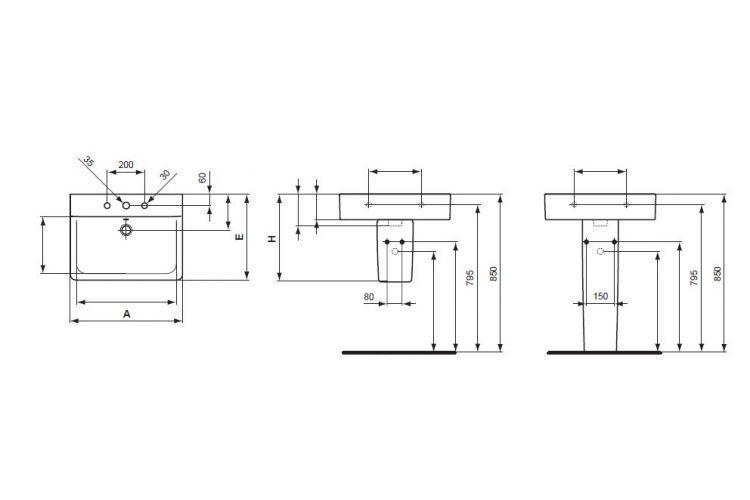 Lavoar Ideal Standard Connect Cube 60 cm