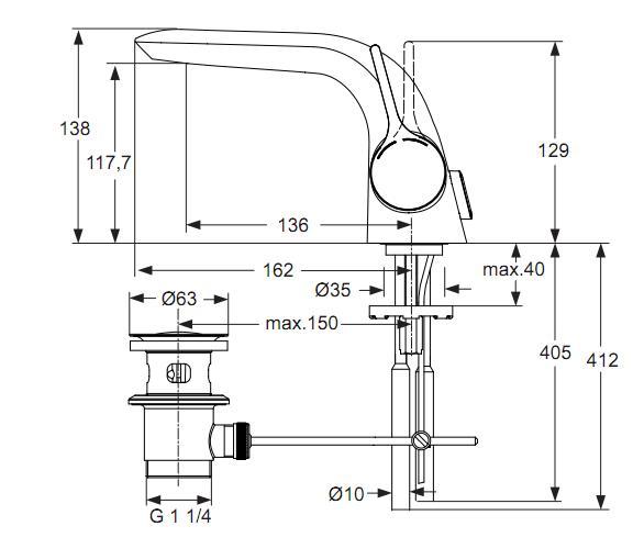 Baterie Ideal Standard lavoar Melange