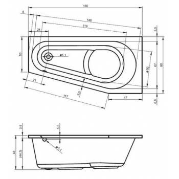Cada din acril Riho de 160x80 cm model Delta 160 L