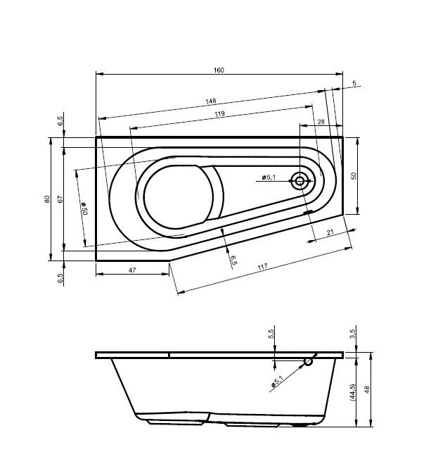 Cada din acril Riho de 160x80 cm model Delta 160 R