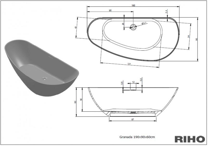 Cada freestanding 190x90 cm Riho model Granada