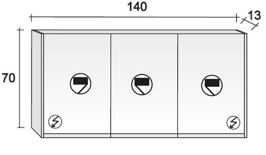Dulap oglinda Riho 3 usi 140x70cm tip M02 - Acryl
