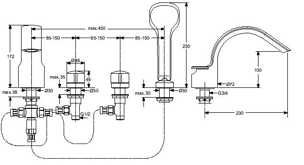 Baterie Ideal Standard cu montaj pe cada cu 4 elemente Melange