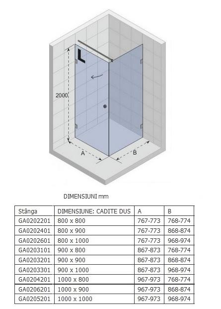 Cabina de dus Riho 80x80x200cm model Artic A201, deschidere stanga