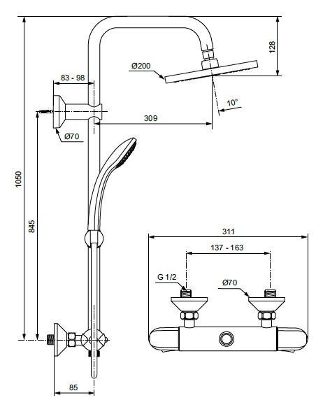Sistem de dus cu baterie termostatata Ideal Standard seria Ceratherm 25, crom