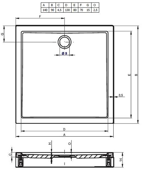 Cadita din acril Riho140x90x4,5 cm model Davos 257