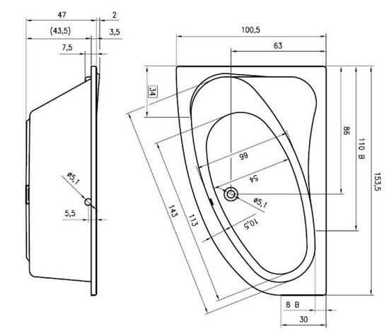 Cada asimetrica 153,5x100cm Riho model Lyra, dreapta