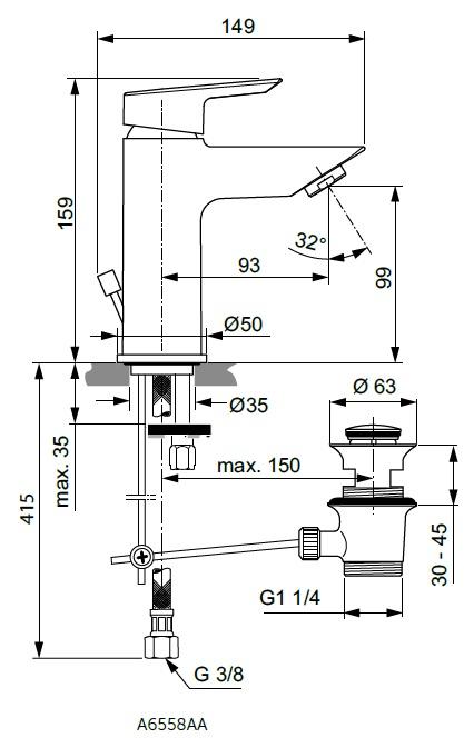 Baterie monocomanda lavoar Ideal Standard gama Tesi, cu ventil click-clack (pornire la rece), cu limitator debit 5l/min