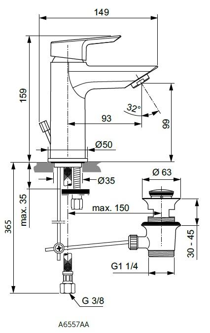 Baterie monocomanda lavoar Ideal Standard gama Tesi, cu ventil click-clack, cu limitator debit 5l/min