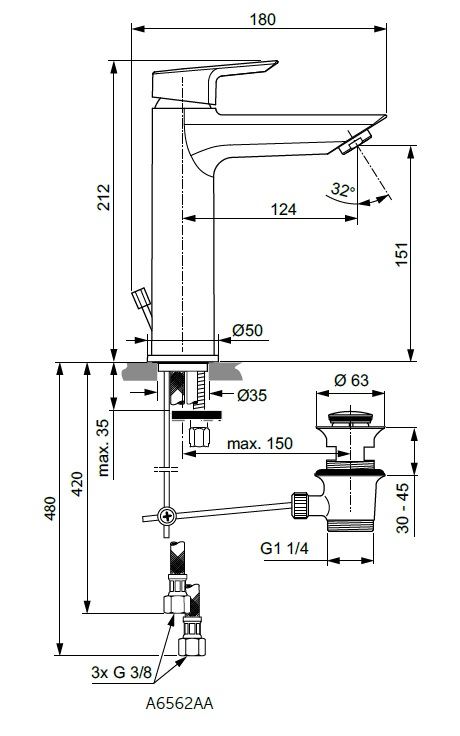Baterie monocomanda lavoar GRANDE Ideal Standard gama Tesi, cu ventil click-clack, pentru presiune scazuta ND