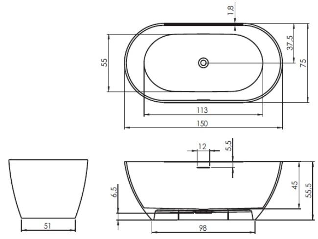 Cada freestanding 150x75 cm Riho model Bilbao Culori preferentiale Mat