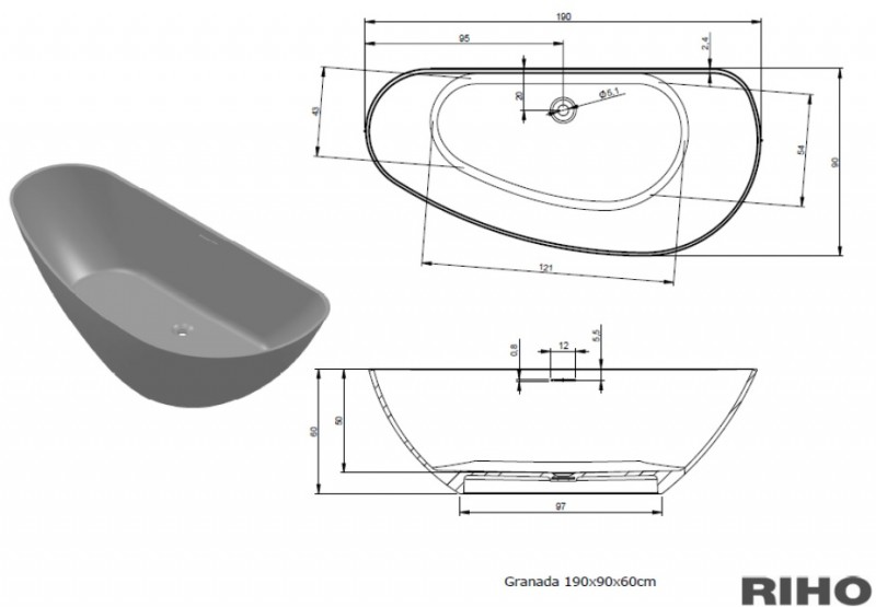 Cada freestanding 190x90 cm Riho model Granada Culori preferentiale GLOSSY