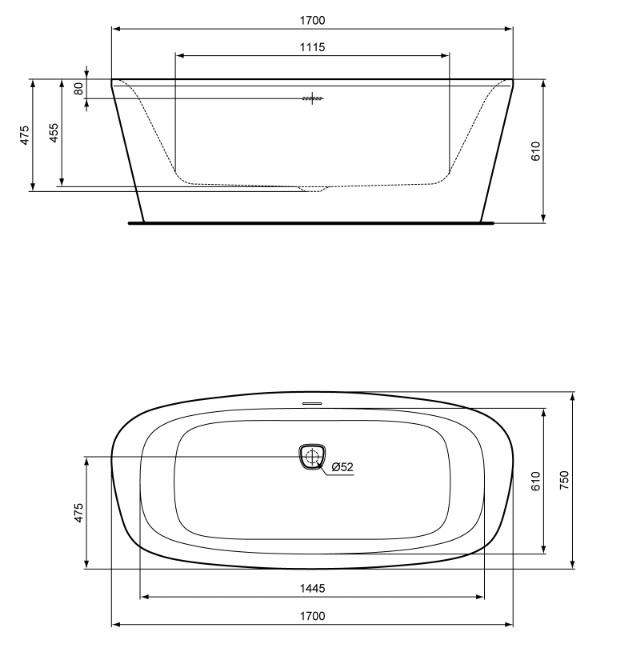 Cada freestanding 170x75cm Ideal Standard gama Dea