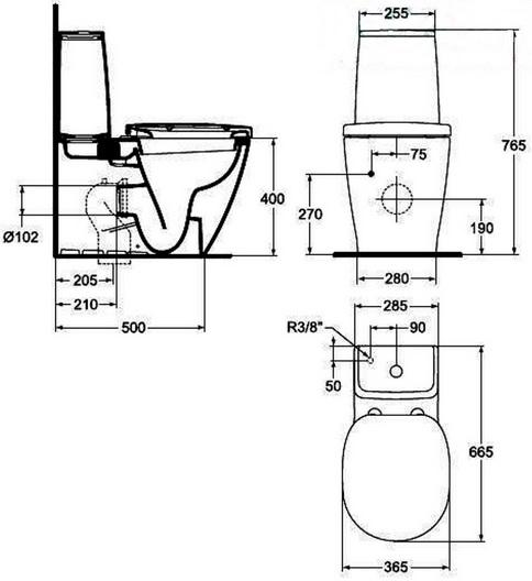 Vas WC Ideal Standard fixare in pardoseala cu rezervor pe vas Cube si capac inchidere lenta gama Connect, alb O.Z.