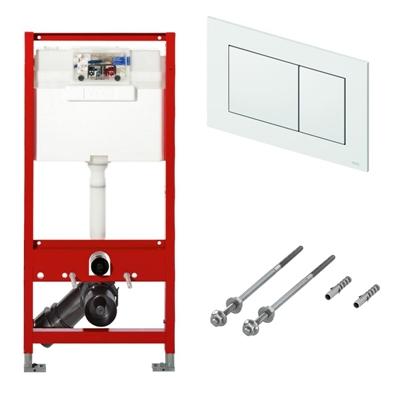 Cadru WC Tece + Set fixare pentru cadrele Tece + Clapeta dubla actionare TECEnow alba PP. Poza 47609