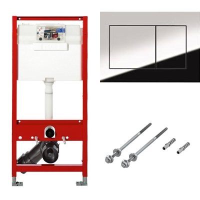 Cadru WC Tece + Set fixare pentru cadrele Tece + Clapeta dubla actionare TECEnow crom lucios PP. Poza 47611