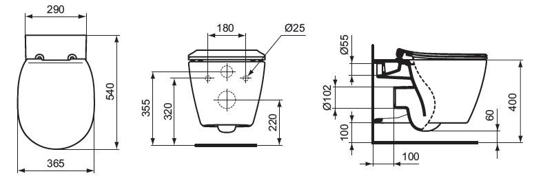 Vas WC suspendat Ideal Standard gama Connect AquaBlade, cu sistem de prindere ascuns, alb