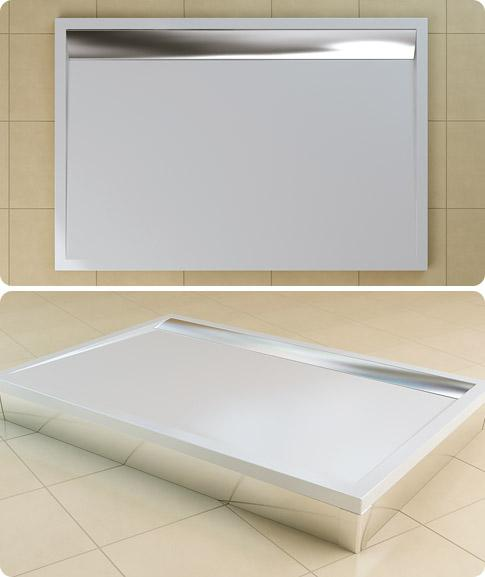 Cadita de dus rectangulara SanSwiss model WIA, din marmura sintetica de 80x90x3 cm model ILA