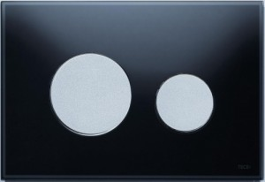 poza Clapeta actionare TECE Loop Neagra, butoane cromate mat