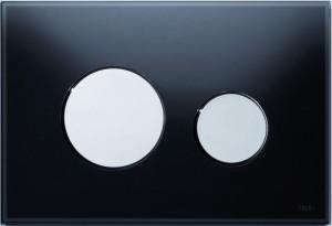 poza Clapeta actionare TECE Loop Neagra, butoane cromate lucios