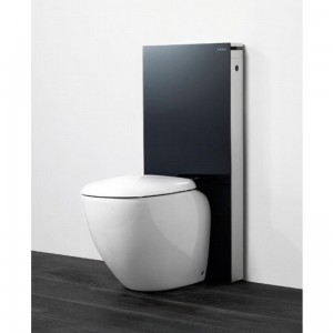poza Modul pentru WC stativ Geberit model Monolith sticla neagra/aluminiu