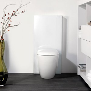 poza Modul pentru WC stativ Geberit model Monolith sticla alba/aluminiu
