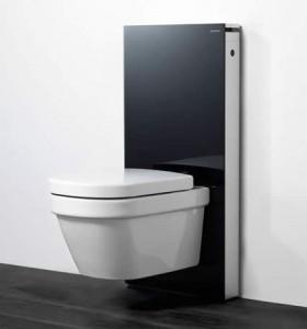 poza Modul pentru WC suspendat Geberit model Monolith sticla neagra/aluminiu