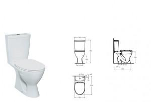 poza Vas WC cu rezervor pe vas si capac Vidima seria SevaMix, cu scurgere verticala