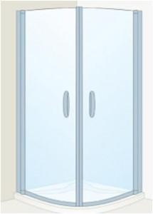 Poza Cabina dus Roca gama Quartz MR 90 cm, semirotunda,sticla transparenta, profil argintiu
