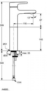 Poza Baterie Ideal Standard inlata de lavoar seria Attitude