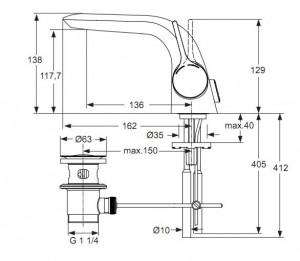 Poza Baterie Ideal Standard lavoar Melange