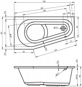 Poza Cada din acril 150x80cm Riho model Delta 150, dreapta