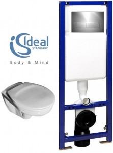 poza Pachet WC suspendat Ideal Standard model  Eurovit cu capac, rezervor cu cadru si clapeta crom