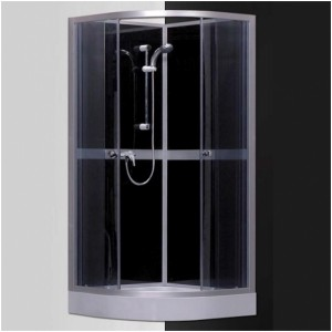 poza Cabina de dus cu hidromasaj si baie de aburi semirotunda 80 cm seria Sanipro model SIMPLE BLACK 800