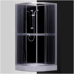 poza Cabina de dus cu hidromasaj si baie de aburi semirotunda 90 cm seria Sanipro model SIMPLE BLACK 900