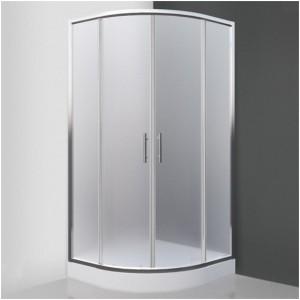 poza Cabina de dus semirotunda 80 cm cu doua usi culisante seria Sanipro model HOUSTON NEO/800 profil brilliant sticla mata