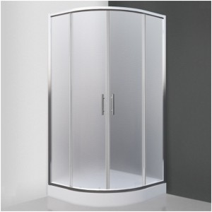 poza Cabina de dus semirotunda 90 cm cu doua usi culisante seria Sanipro model HOUSTON NEO/900 profil brilliant sticla mata