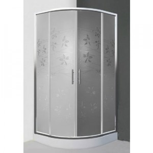 poza Cabina de dus semirotunda 80 cm cu doua usi culisante seria Sanipro model FLOWER NEO/800 profil brilliant sticla dekor