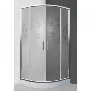 poza Cabina de dus semirotunda 90 cm cu doua usi culisante seria Sanipro model FLOWER NEO/900 profil brilliant sticla dekor
