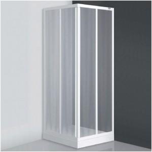 poza Cabina de dus patrata 80 cm cu doua usi culisante seria Sanipro model SPCS2/800 profil alb sticla chinchilla