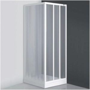 poza Usa de dus culisanta din trei elemente 95 cm pentru cabina de dus seria Sanipro model LD3/950 profil alb sticla damp