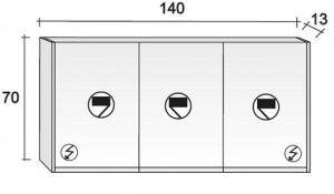 Poza Dulap oglinda Riho 3 usi 140x70cm tip M02 - Acryl