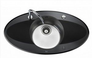 poza Chiuveta bucatarie Teka 95 cm model i-Sink 95 DX, inox+ sticla securizata neagra