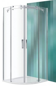poza Cabina de dus semirotunda 87.7x89.2 cm cu 2 usi culisante seria Roltechnik model Ambient  Line MR2N/900, profil brillant, sticla transparenta