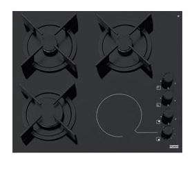 poza Plita mixta gaz/vitroceramica Franke seria Crystal model FHX 604 3G 1C BK C Glass Black