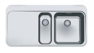 poza Chiuveta de bucatarie incastrata cu 2 cuve si picurator stanga Franke seria Sinos model SNX 251 Inox satinat